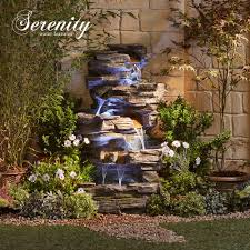 Rock Water Features For The Garden Cascading Rock Pool Water Feature With Lights From 269 99 In
