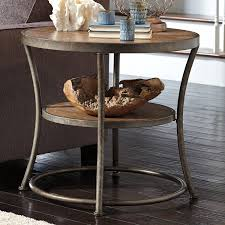 furniture simple light brown round end table solid pine top