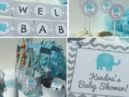 Baby Shower Centerpiece Ideas For Boys by Boy Elephant Baby Shower Decorations Chevron Printable Diy Party