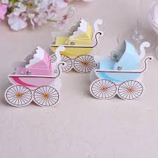 christening party favors 300pcs diy baby shower pram carriage paper candy gift box wedding