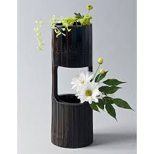 ikebana vase bamboo section vase for cascading ikebana arrangements ziji