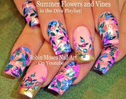 diy flower nails design tutorial vintage diva nail art youtube