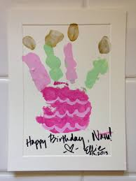 handprint cake birthday card for the grandparents hand made