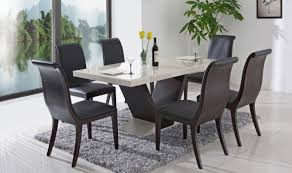 modern white dining tables with glass top and black chairs for