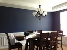 navy blue dining room white trim with print drapes might work