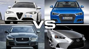 audi a4 vs lexus is350 alfa romeo giulia vs audi a4 vs jaguar xe vs lexus is