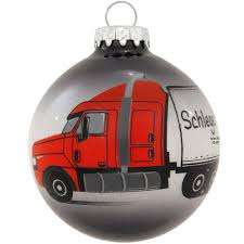 personalized semi truck and trailer glass ornament
