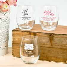 wedding favor glasses personalized stemless wine glasses