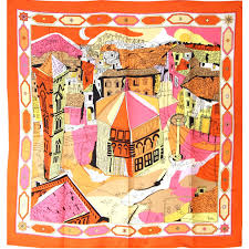 Orange Accessories Emilio Pucci 1960s Orange And Black Silk Abstract Florentine