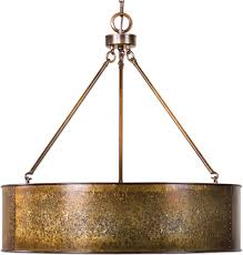 uttermost 22067 wolcott retro golden galvanized drum pendant light