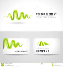 business card template set abstract green wave stock vector