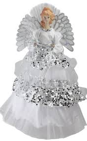 lighted fiber optic angel in silver sequined gown christmas tree