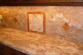 tumbled travertine backsplash ideas kitchen with glass cabinet