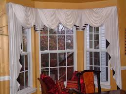 grey and brown bay window valance rod can be decoration ideas