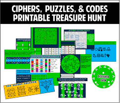 this printable treasure hunt is all about ciphers puzzles and
