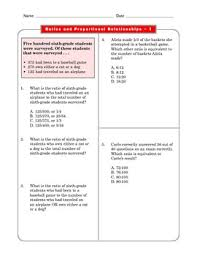 grade 6 common core ratios and proportions math worksheet 1 1 tpt