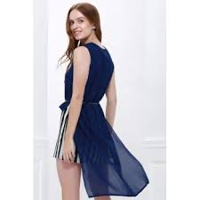 stylish polo neck mesh splicing color block women u0027s high low