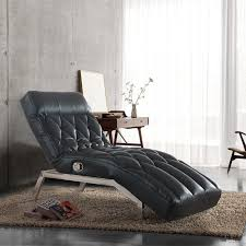 Leather Chaise Lounge Sofa Living Room Black Pu Leather Adjustable Chaise Lounge