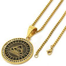 men u0027s stainless steel gold tone free mason medallion pendant 24