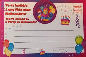 Birthday Cards Invitations Mcdonalds Birthday Party Invitations Vertabox Com