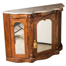entry cabinet with antique burl wood inlay and marble top