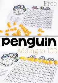 printable hundreds chart free penguin addition to 100 with hundreds chart life over cs