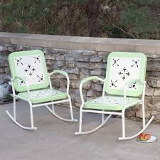 coral coast paradise cove retro metal rocking chairs set of 2