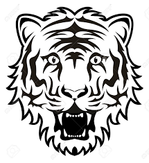 stylized black and white tiger royalty free cliparts vectors
