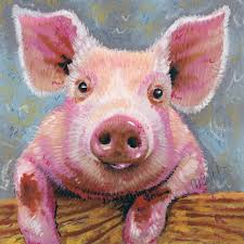 pig portrait framed archival print from an original pastel