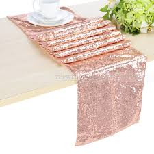champagne sequined table runner in satin and tulle