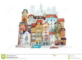 Narrow Houses Aquarelle Painting Of High Narrow Houses In Europe Hand Drawn