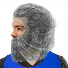 beard nets white polypropylene bouffant with elastic at neck hair