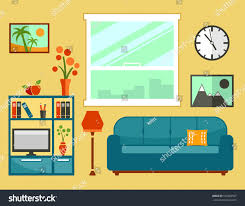 living room interior flat furniture apartment stock vector living room interior with flat furniture apartment room interior furniture set for cozy furnishing home