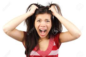 Going Crazy Frustrated And Angry Mad Woman Going Crazy Hands Pulling Her