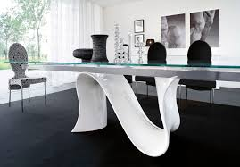 simple dining table with rectangle clear glass top and cream