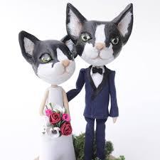 cat wedding cake topper rustic wedding cake figurine bride