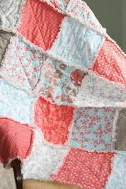 crib rag quilt baby crib bedding coral tiffany blue gray