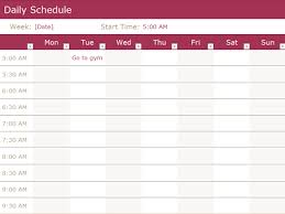 Study Schedule Template Excel Schedules Office Com