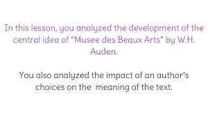 lesson 5 analyzing meaning and structure in u201cmusee des beaux arts