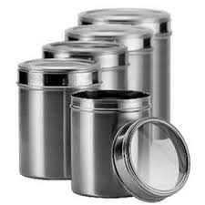 stainless steel kitchen storage canisters with see through lid