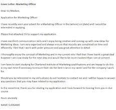 marketing officer cover letter example icover org uk