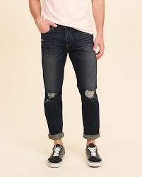Hollister Skinny Jeans Mens Latest Mens Hollister Skinny Ankle Jeans In Ripped Dark Wash