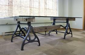 industrial glass dining table appealing metal conference table with incredible vintage industrial