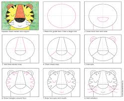 draw a tiger face tiger face simple shapes and tigers