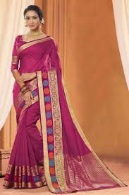 color designer wonderful pink color designer party wear stylish cotton saree from