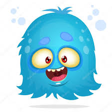 vector cartoon halloween monster blue furry flying monster with