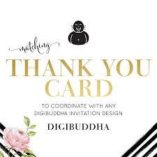 digibuddha thank you card custom coordinating folded a2 notecard