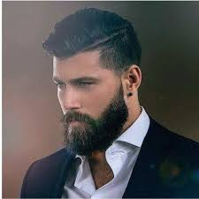 boy hair cut length guide high fade with length combed over beard shaped to flatter the