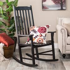 Wooden Rocking Chairs by Coral Coast Indoor Outdoor Mission Slat Rocking Chair Black