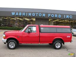 1995 vermillion red ford f150 xl regular cab 4x4 15577664